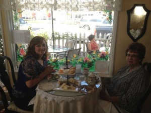 My mom and I enjoying tea at McKenna's Tea Cottage